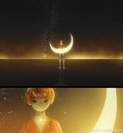 Фото Мальчик держит в руках луну, на фоне ночного неба, художник Hanyijie