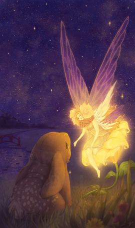 Фото Фея утешает плачущего кролика, art by ArandaDill