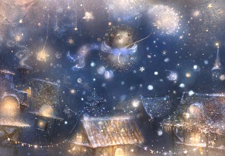 Фото Ежик летит, держась за одуванчик, art by smokepaint