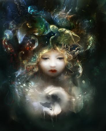 Фото Девочка с морскими животными в волосах, art by smokepaint