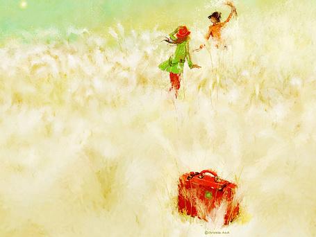 Фото За парнем в пшеничном поле бежит девушка, бросив свой коралловый чемодан, корейская художница Christian Asuh