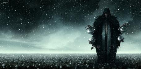 Фото Страшный колдун с четырьмя руками держит сферы, художник Kerem Beyit