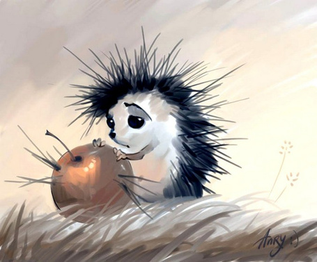 Фото Грустный ежик где-то в поле смотрит на большое яблоко с колючками, как у него иголки, и держит лапками art by Arny :)