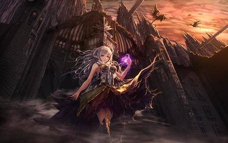 Фото Девушка стоит возле здания, над которым летают драконы, art by jname