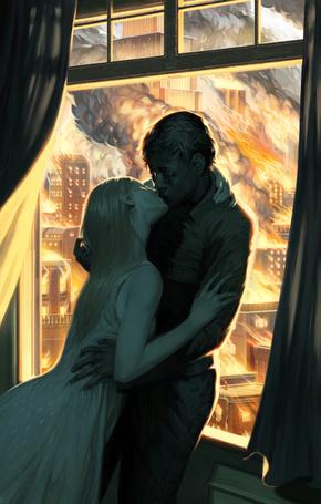 Фото Целующаяся пара на фоне пожара, виднеющегося из окна