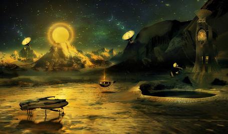 Фото Фантастический пейзаж из будущего, на планете из солнечной системы стоит космический корабль, на пиках гор стоят радиолокаторы на фоне звездного космического неба и светящегося солнечного диска, автор Nataliorion