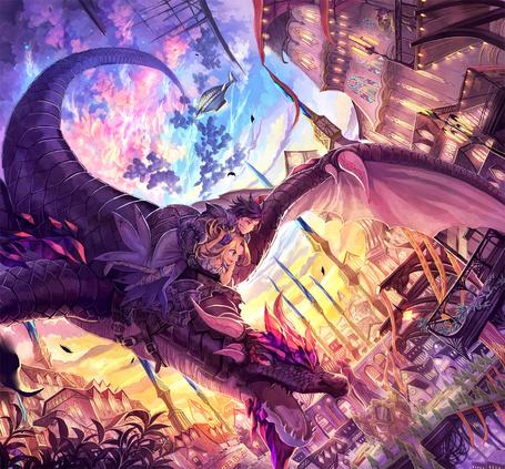 Фото Парень и девушка летят верхом на драконе, art by mura