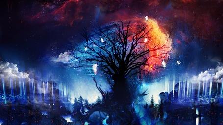 Фото Дерево окруженное огнями и летающими феями