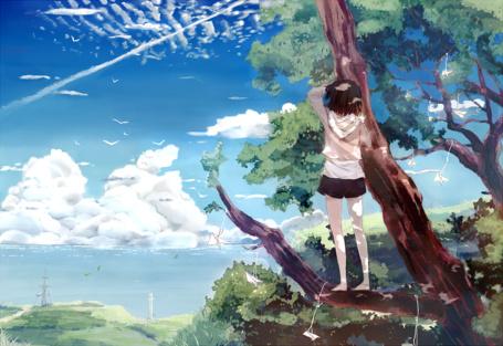 Фото Девушка на ветке дерева смотрит на небо, art by bou shaku
