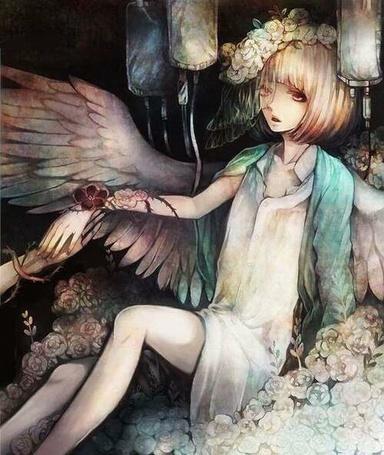 Фото Девушка-ангел сидит под капельницами среди роз, держась за чью-то руку
