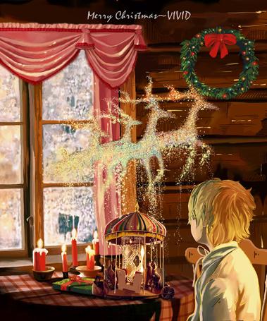 Фото Светловолосый мальчик смотрит на золотистых оленей в воздухе, art by Vivid雨希 (Merry Christmas / Счастливого Рождества)