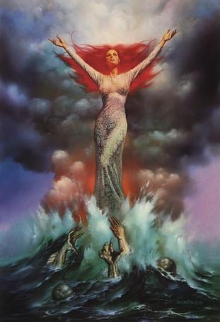 Фото Женщина, с красными волосами, воздев руки к небу, парит над волной из которой тянут свои руки демоны, художник Boris Vallejo