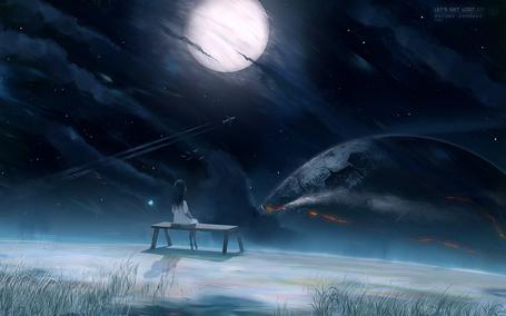 Фото Девочка сидит на лавочке на краю земли и смотрит на небесное пространство, работа lets get lost, арт ву KuldarLeement