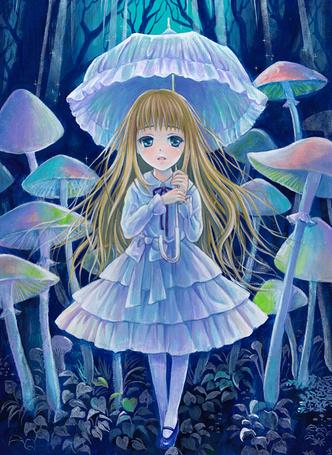 Фото Девочка с зонтиком в руках стоит в лесу в окружении грибов, рисунок トヨダイズミ