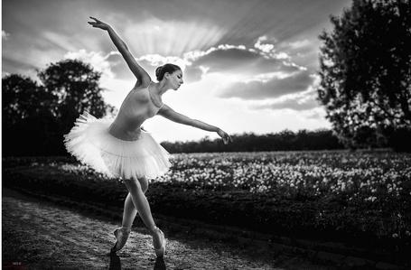Фото Балерина на дороге на фоне поля, фотограф Георгий Чернядьев