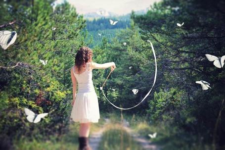 Фото Девушка и бабочки на лесной дороге