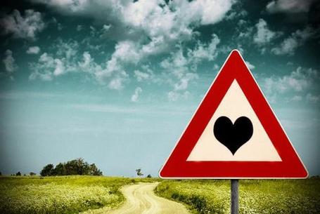 Фото На дороге между полями дорожный знак с сердечком