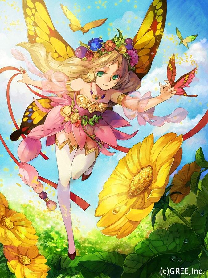 Фото Девушка с крыльями бабочки парит над цветами