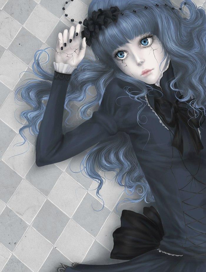 Фото Девушка с трещинами на лице и руке лежит на полу, art by Mezamero