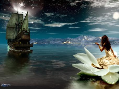 Фото Темноволосая девушка в пышном, белом платье, сидящая в плавающей белой лилии, провожает отплывающий парусный фрегат