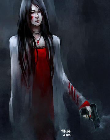 Фото Черноволосая девушка с кровью на лице, держащая в руке пистолет, автор NanFe