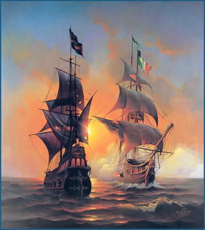 Фото Пара старинных парусных фрегатов, плывущих по морю на фоне ярких, солнечных лучей на пасмурном, вечернем небосклоне, один из них произвел выстрел из корабельной пушки, автор John Pitre