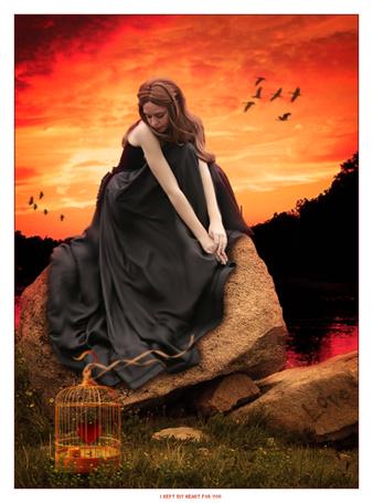Фото Девушка сидит на камне перед клеткой, где лежит сердечко, на камне написано Love (любовь), by w melon