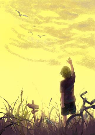 Фото Мальчик, стоя у велосипеда, поднял руку к небу, арт от Hanyijie