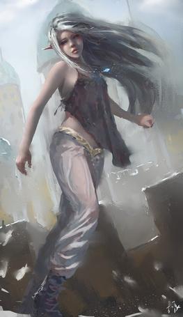 Фото Девушка-эльф стоит на стене замка, art by wlop