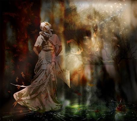 Фото Девушка в длинном платье, держащая в руке зонтик, стоящая на разбитом, стеклянном полу на фоне падающих красных и желтых, осенних листьев, автор Nataliorion