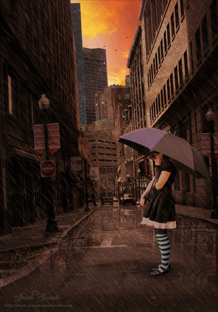 Фото Девушка стоит на улице города с зонтом под дождем, by Jacob-Joseph