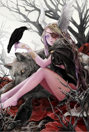 Фото Девушка сидит рядом с волком