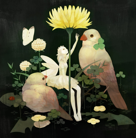 Фото Девушка - фея и две птицы