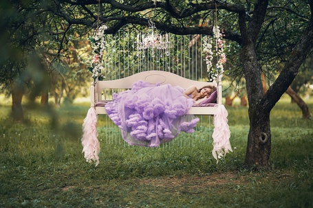 Фото Девушка в фиолетовом платье лежит на скамье, которая прикреплена к ветвям дерева, фотограф Александра Савенкова