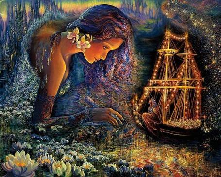 Фото Девушка - водная стихия наклонилась к кораблю c девушкой, художница Джозефина Уолл