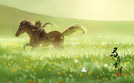 Фото Мальчик скачет на лошади посреди поля, арт от Hanyijie
