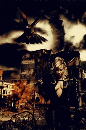Фото Работа Live the Game / проживите игру, девушка с оружием на фоне разрушенных домой, by Lokiev