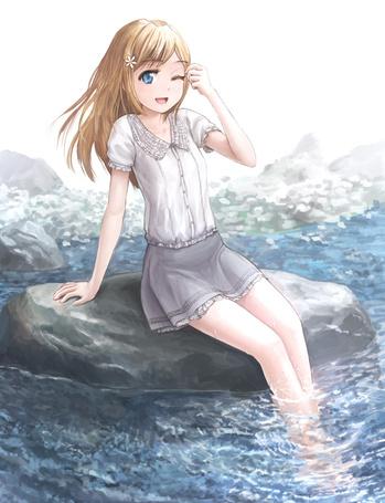 Картинки девушка у речки