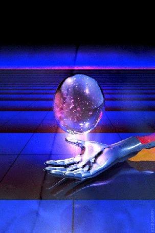 Фото Над рукой колеблется интересная фигура в форме, напоминающей шар