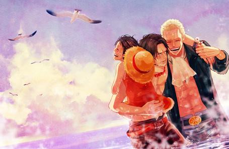 Фото Сабо / Sabo, Монки Д. Луффи / Monkey D. Luffy и Портгас Д. Эйс / Portgas D. Ace из аниме Ван Пис / One Piece
