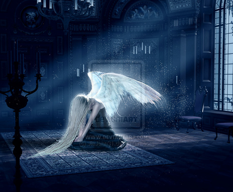 Фото Девушка -ангел сидит на полу посреди комнаты, by JiaJenn31
