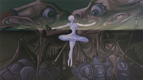 Фото Танцующая балерина перекатывает голову-шарик, а парень отбивает ее