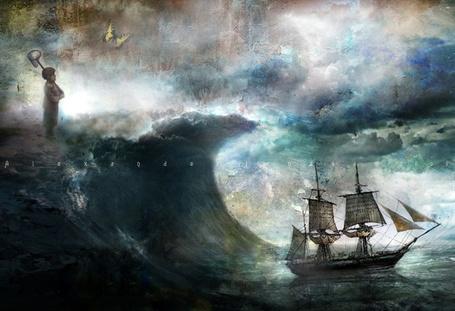 Фото Корабль настигает волна. На волне стоит мальчик с сачком и рядом летает бабочка. Художник Александр Янссон (Alexander Jansson)