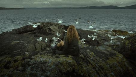 Фото На скале, на берегу моря, сидит девушка, около нее летают чайки