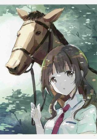 Фото Сава Окита / Sawa Okita из аниме И то, и другое / Tari Tari держит лошадь за уздечку