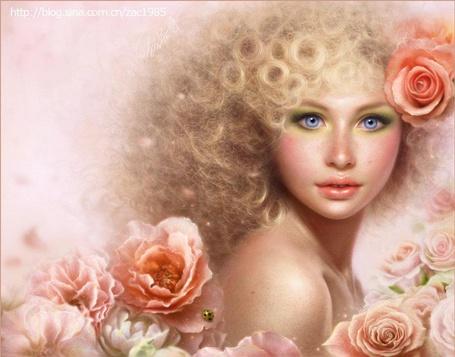 Фото Кудрявая белокурая девушка с розами в волосах и ярким макияжем. Иллюстратор Zac Sophia / Зак София