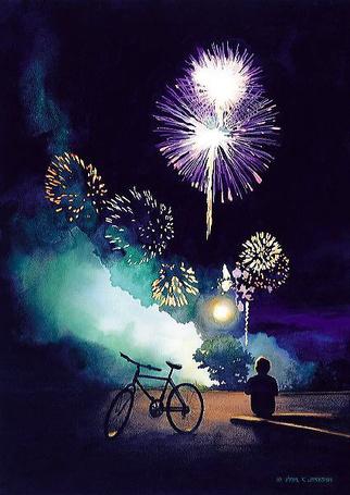 Фото Мальчик сидит возле велосипеда и смотрит на фейерверки, художник Пол Джексон / Paul Jackson