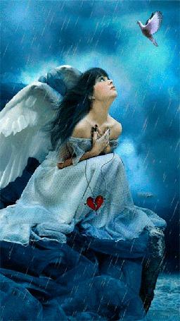 Фото К девушке-ангелу, сидящей в дождь на берегу моря с кулоном разбитое сердце в руках, прилетел голубь