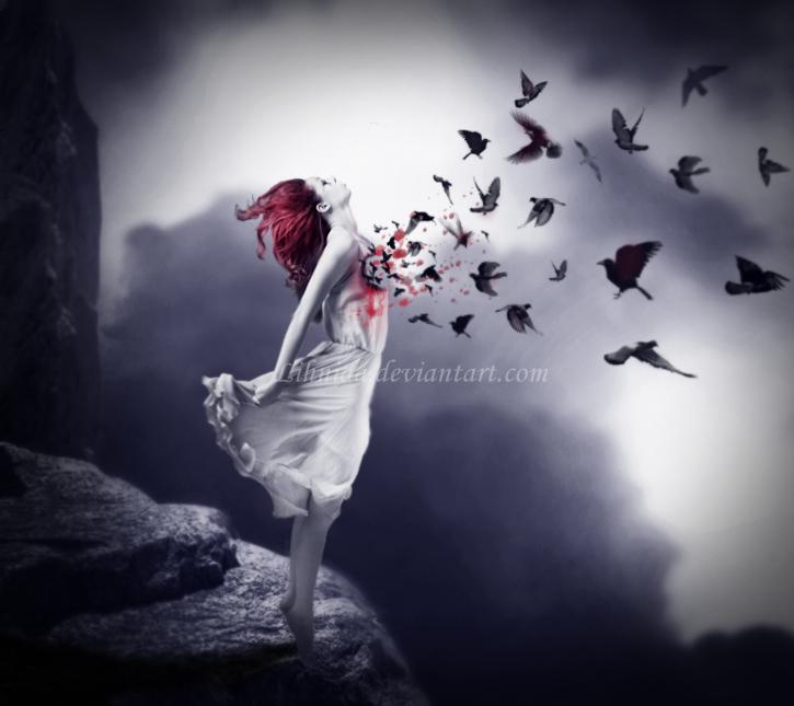 Фото Девушка стоит на обрыве, вороны клюют ее сердце, by lihnida