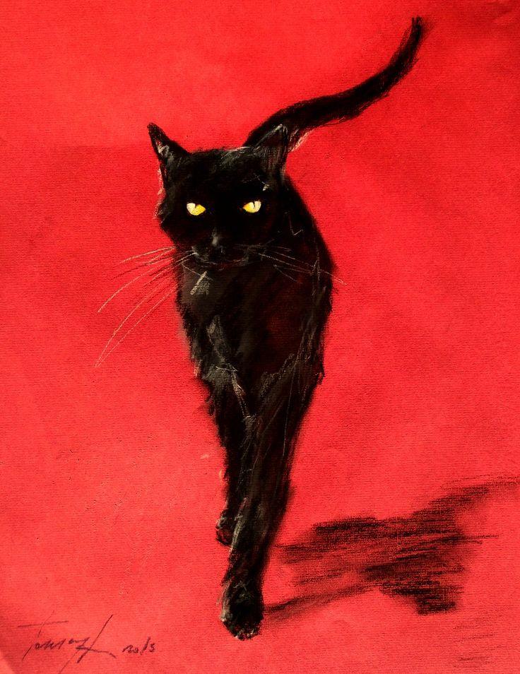 Черный кот нарисованный фото